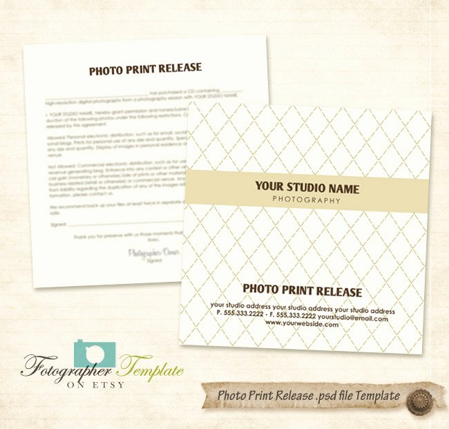 Photography Print Release Template Luxury Print Release form Template Cd Dvd by