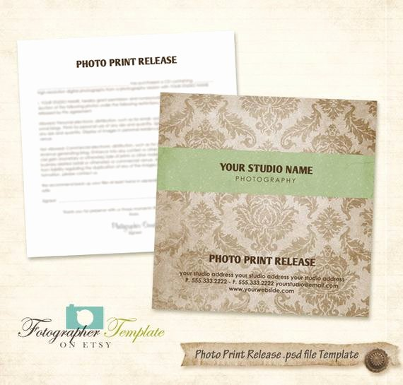 Photography Print Release Template Unique Print Release form Template Damask Cd Dvd Graphy