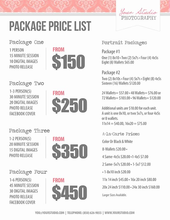 Photography Shot List Template Awesome Graphy Price List Pricing List for Graphers