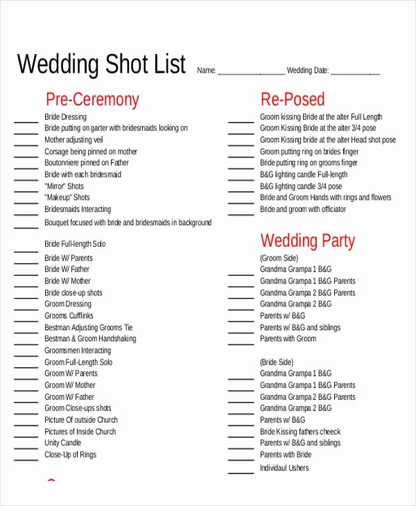 Photography Shot List Template Awesome Shot List Sample 9 Examples In Word Pdf