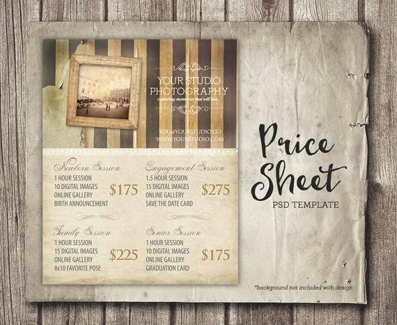 Photography Shot List Template Beautiful Vintage Graphy Template Session Package Pricing