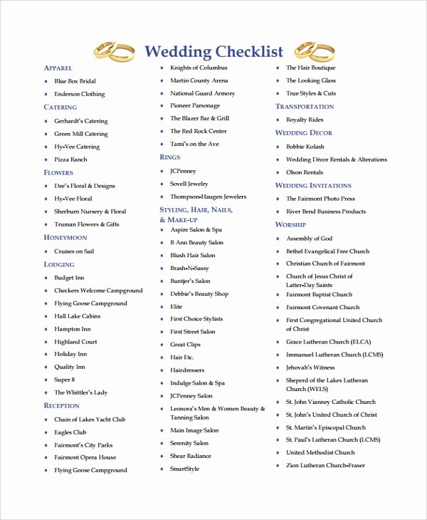 Photography Shot List Template Lovely 24 Sample Wedding Checklist Templates