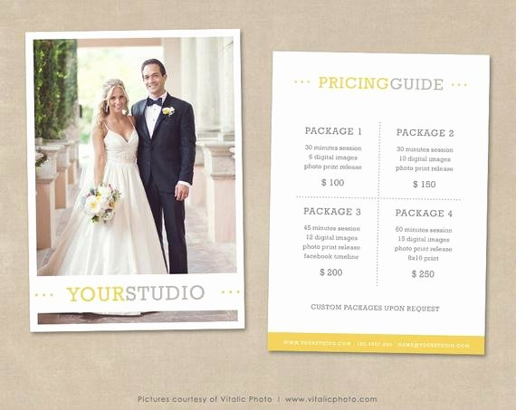 Photography Shot List Template Luxury Graphy Pricing Template Price List Wedding Pricing