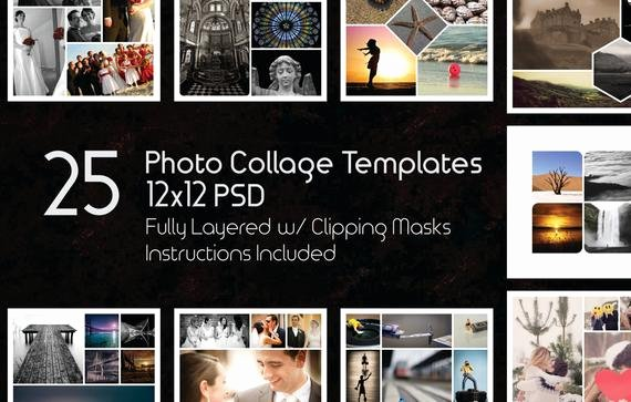 Photography Shot List Template New 12x12 Collage Templates Pack 25 Psd Templates