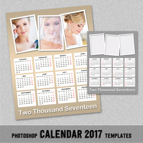 Photoshop Calendar Template 2017 Awesome 2017 Annual Calendar Shop Template 8x10 and 16x20