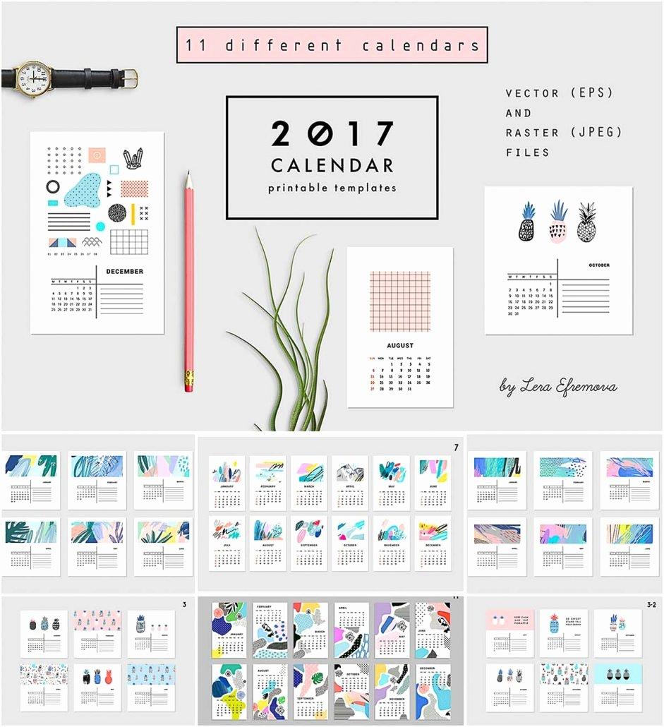 Photoshop Calendar Template 2017 New 2017 Calendars Abstract Set