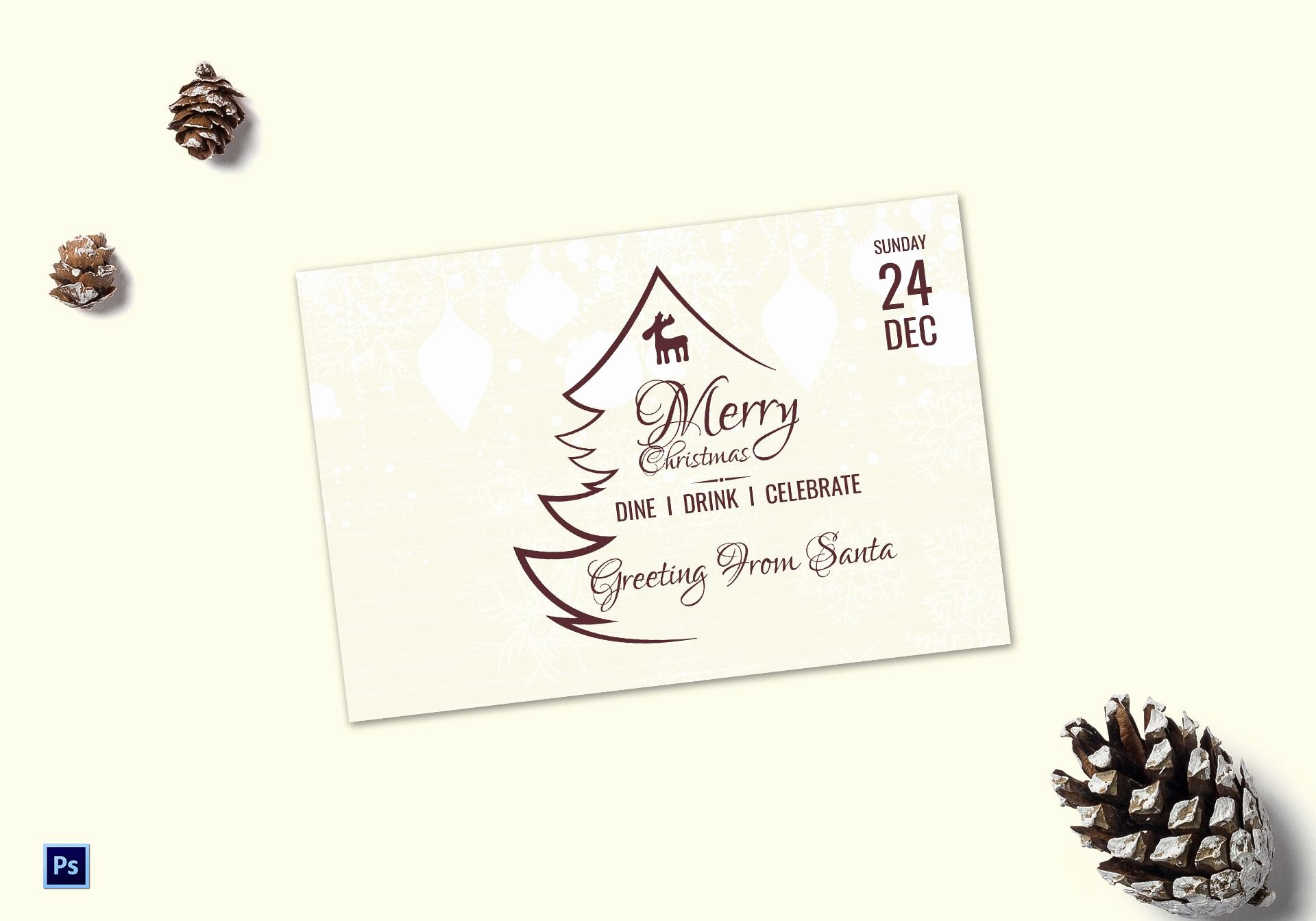 Photoshop Greeting Card Template Elegant Elegant Christmas Greeting Card Template In Adobe Shop