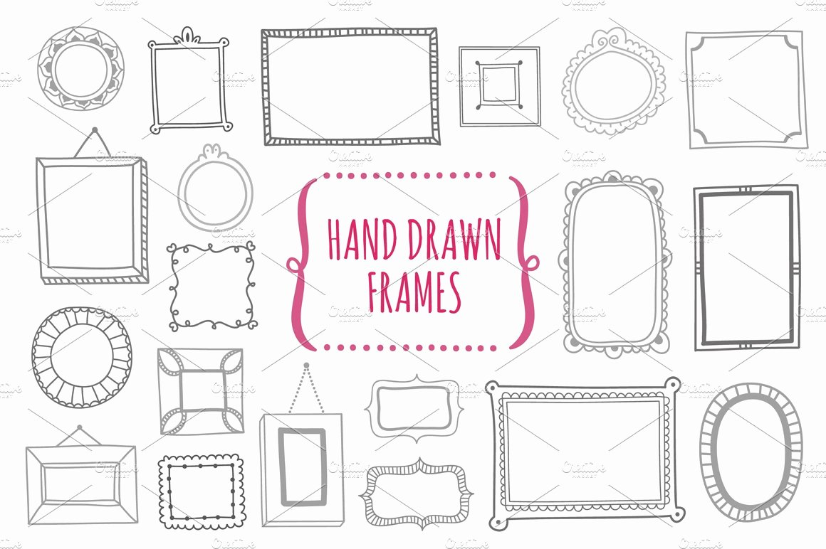 Photoshop Picture Frame Template Fresh Hand Drawn Frames Illustrations Creative Market