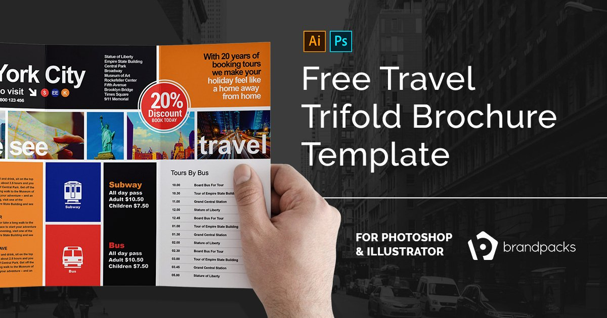 Photoshop Trifold Brochure Template Fresh Free Travel Trifold Brochure Template for Shop