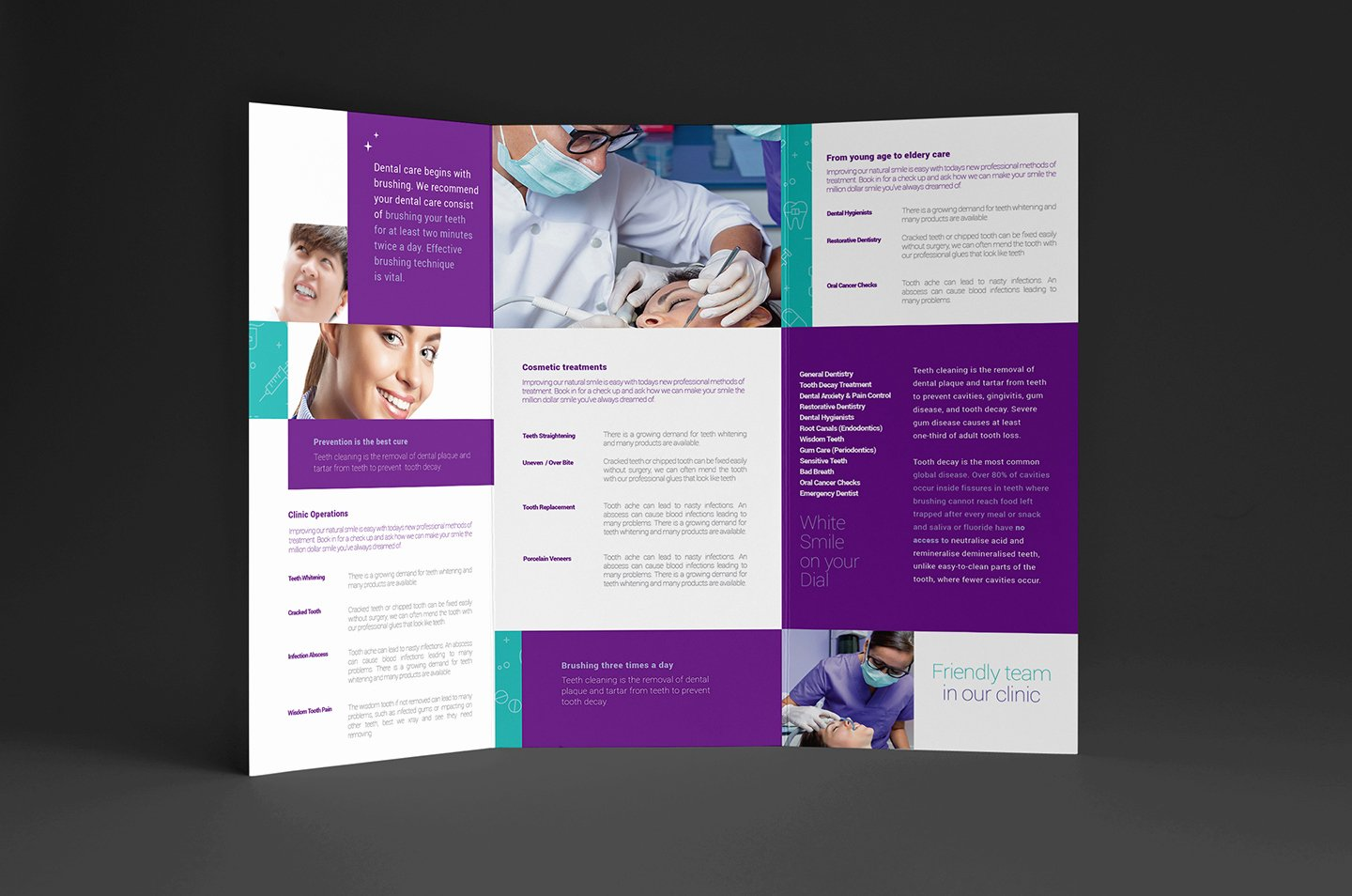 dental clinic trifold brochure template