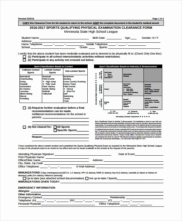 Physical Exam form Template Unique 9 Sample Physical Exam forms – Pdf