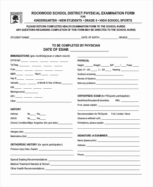 Physical Examination form Template Awesome Sample Health Examination form 9 Free Documents In Pdf