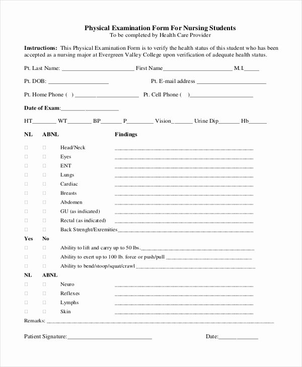 Physical Examination form Template Best Of Sample Physical assessment forms 8 Free Documents In