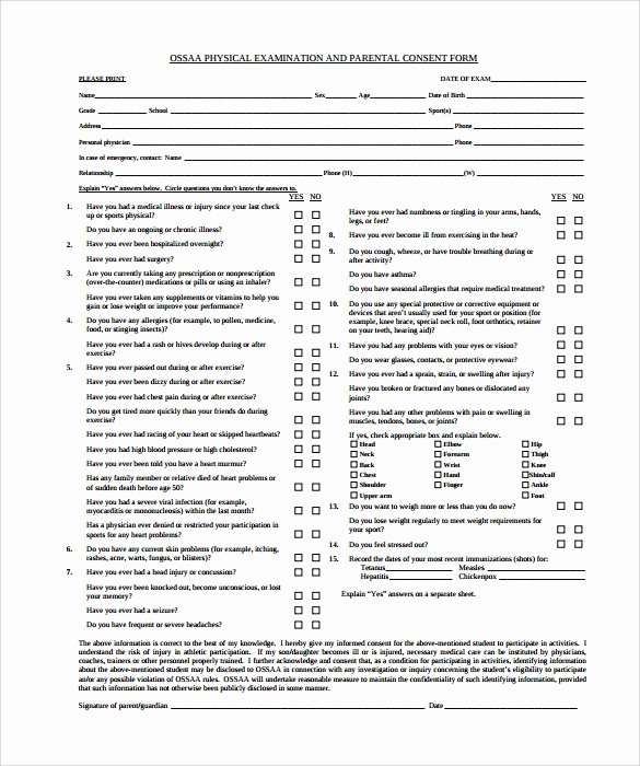 Physical Examination form Template Elegant Physical Exam Template 8 Download In Documents In Pdf