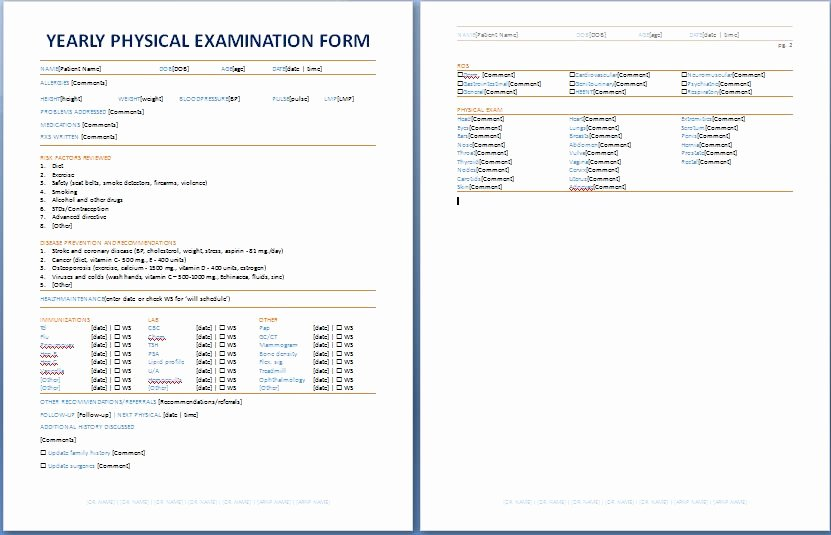 Physical Examination form Template New Yearly Physical Examination forms