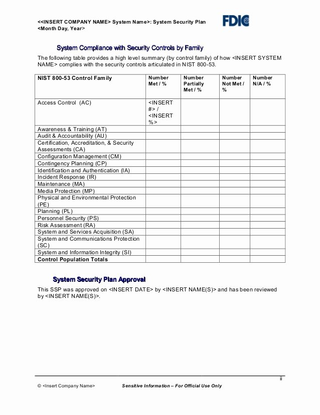 Physical Security Plan Template Lovely It Security Plan Template