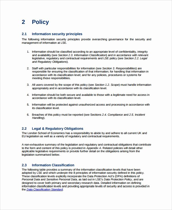 Physical Security Policy Template Best Of Sample It Security Policy Template 9 Free Documents