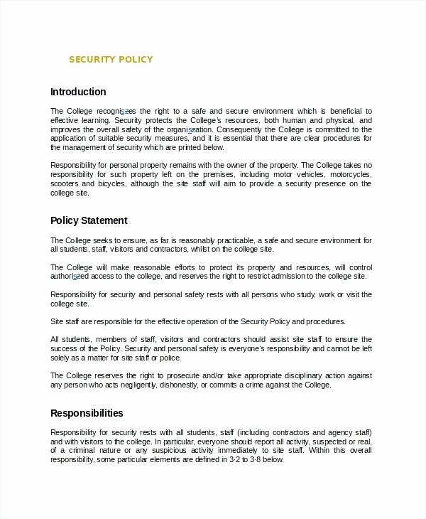 Physical Security Policy Template Inspirational Information Security Policy Template Sample Sweet for It