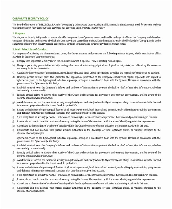 Physical Security Policy Template New Security Policy Template 7 Free Word Pdf Document Physical