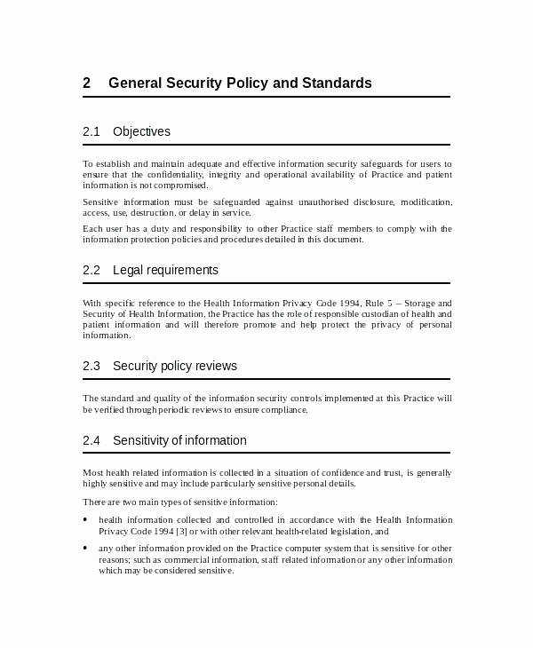 Physical Security Policy Template Unique Best Business It Policy Templates Sample Email