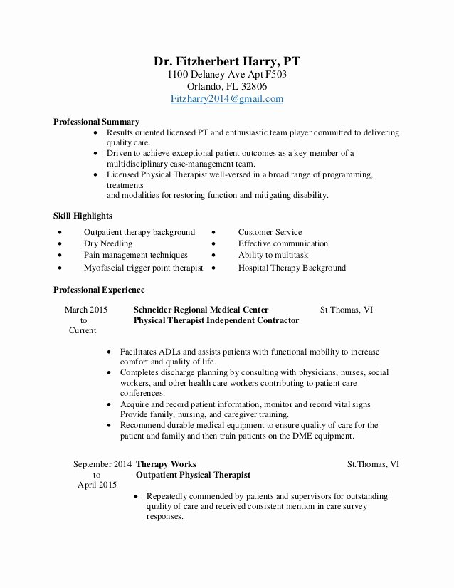 Physical therapy Resume Template Beautiful Physical therapist Resume