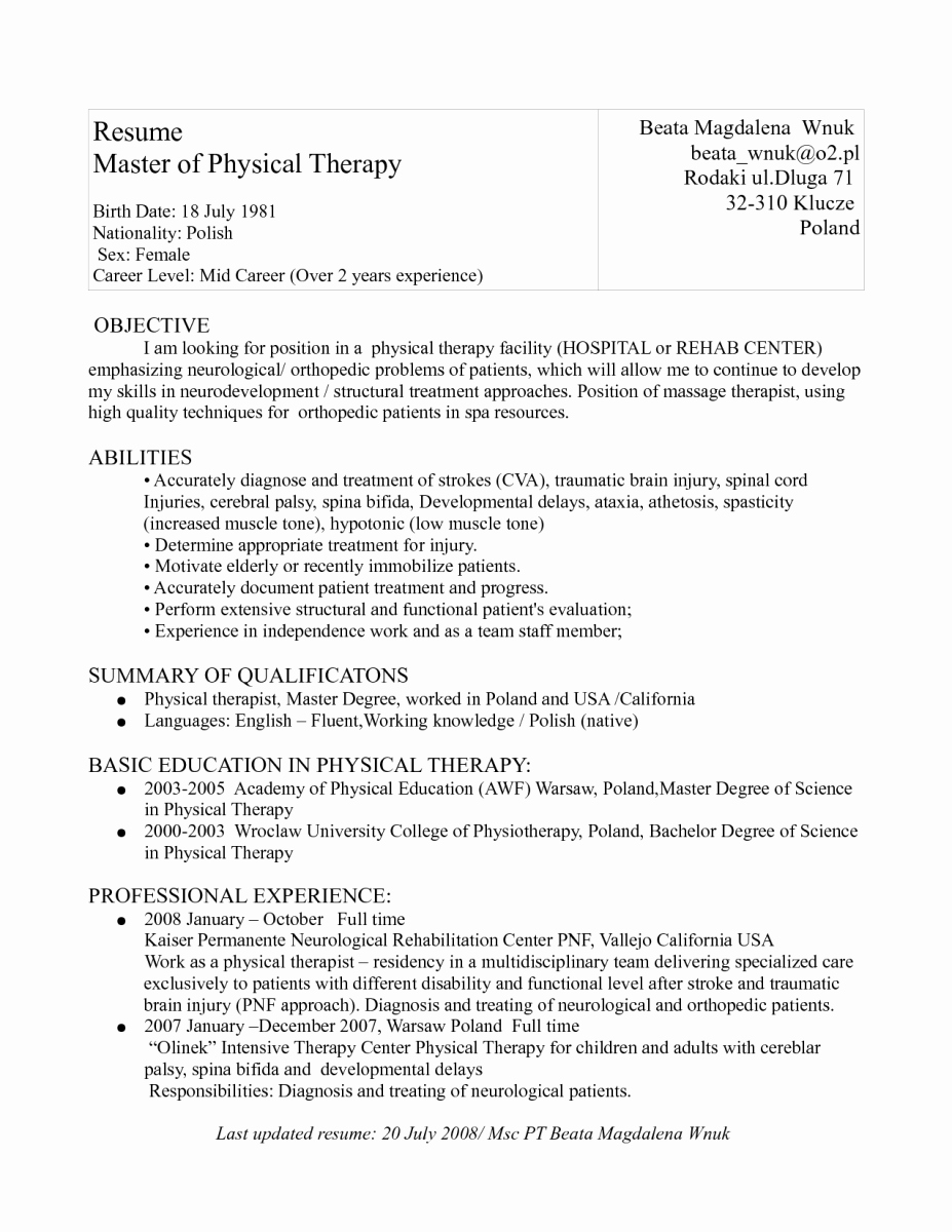 Physical therapy Resume Template Beautiful Resumes for Physical therapist assistant – Perfect Resume