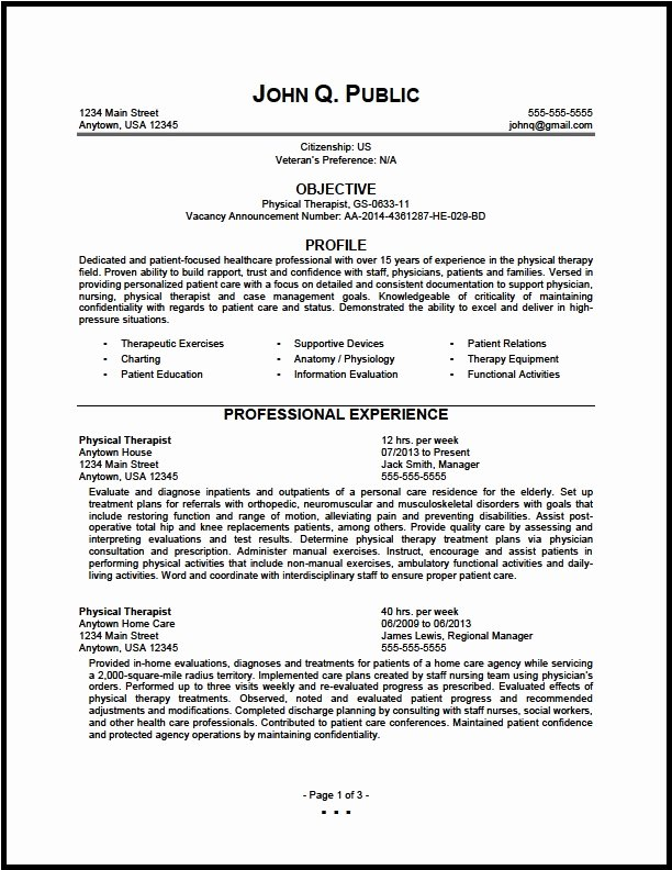 Physical therapy Resume Template Best Of Physical therapy Resume Sample