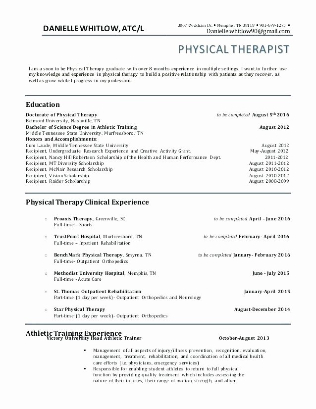 Physical therapy Resume Template Best Of Resume Objective Samples Physical therapy Resume Pt Resume