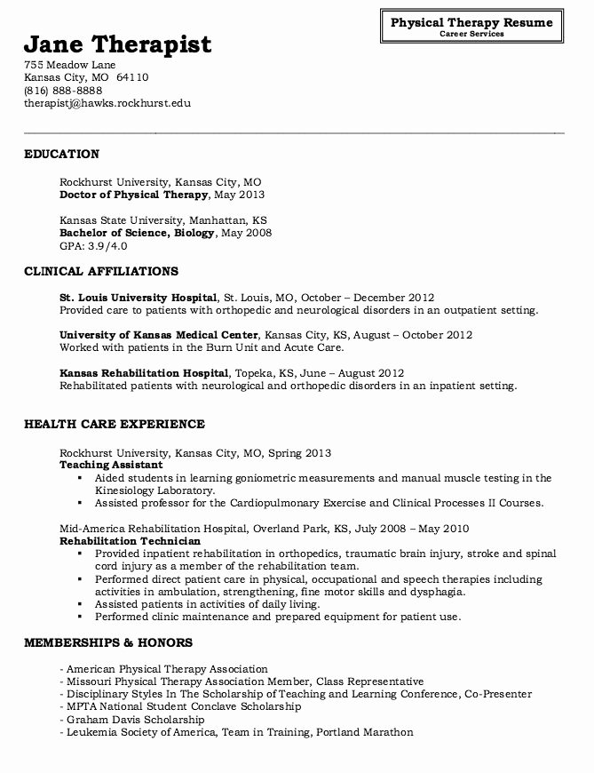 Physical therapy Resume Template Fresh Physical therapy Resume Sample