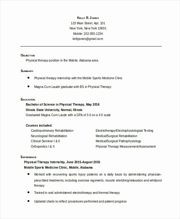 Physical therapy Resume Template Lovely Physical therapist Resume 5 Free Word Pdf Documents
