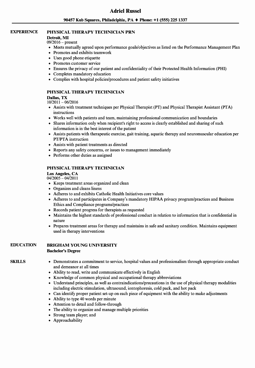 Physical therapy Resume Template Lovely Physical therapy Technician Resumes – Perfect