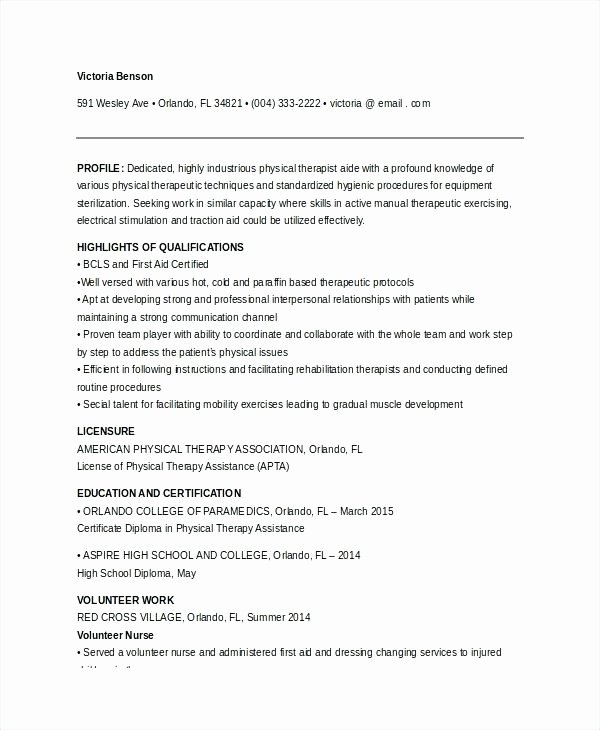 Physical therapy Resume Template New Physiotherapist Resume Sample – Trezvost
