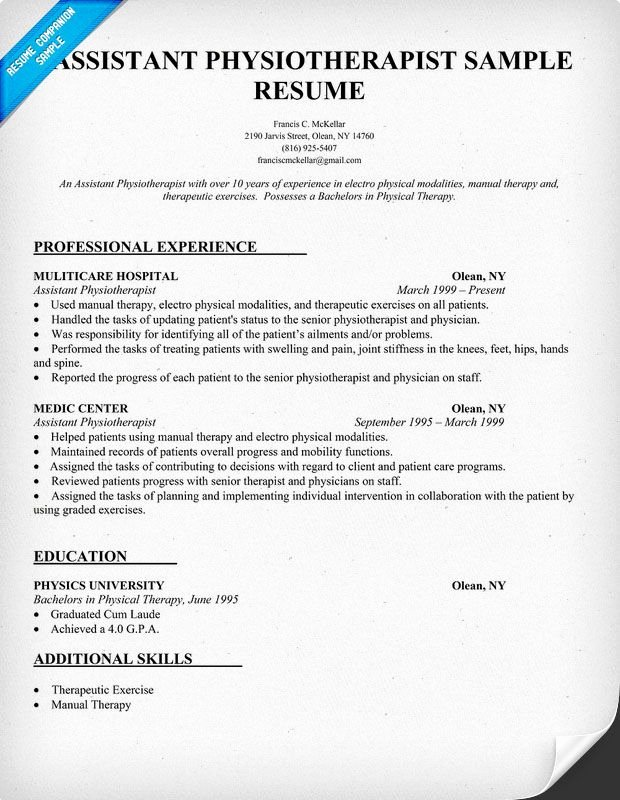Physical therapy Resume Template Unique Resume Sample assistant Physiotherapist Resume