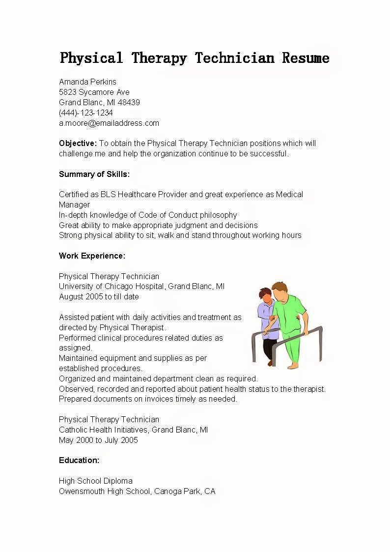 Physical therapy Resume Template Unique Resume Samples Physical therapy Technician Resume Sample