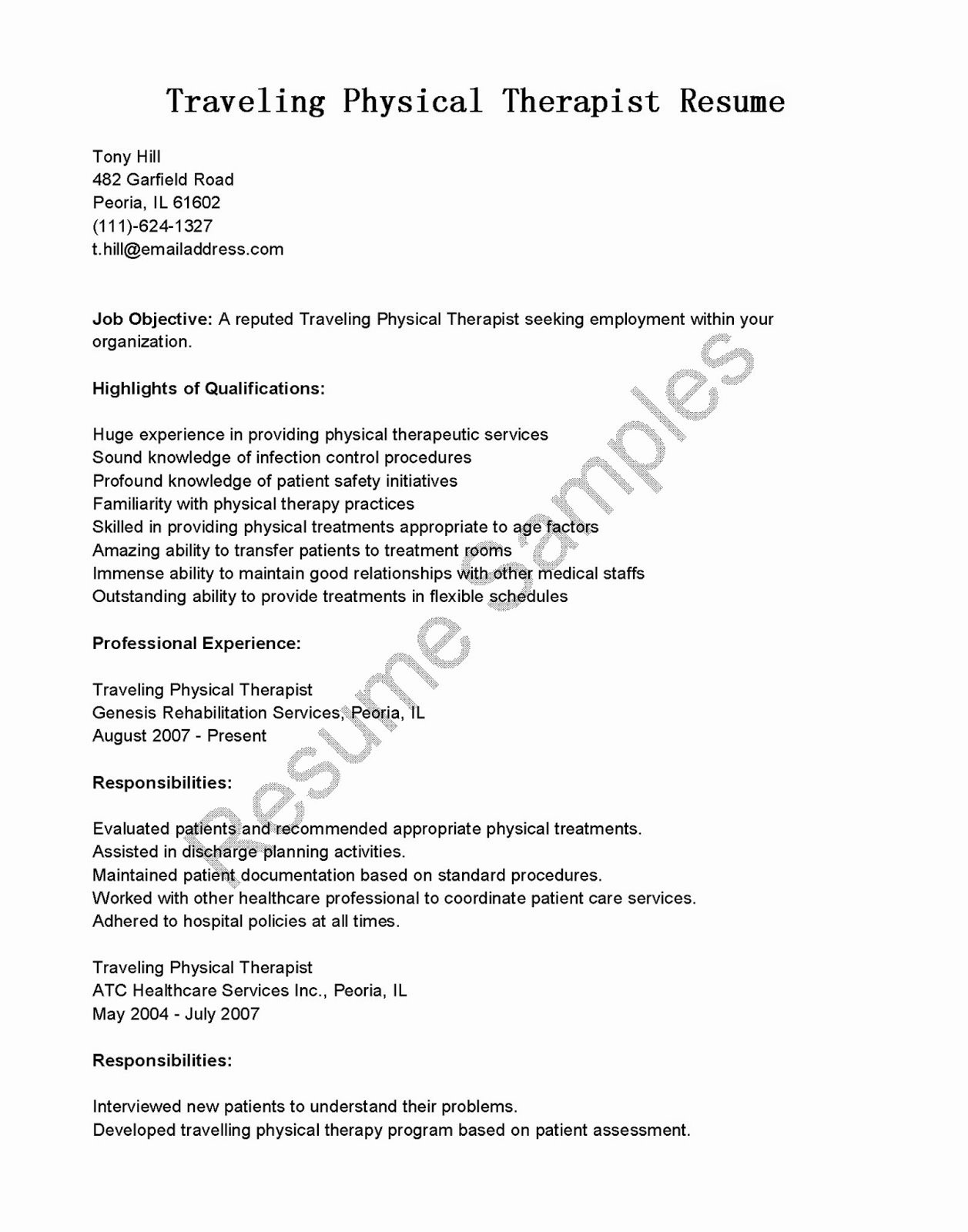 Physical therapy Resume Template Unique Resume Samples Traveling Physical therapist Resume