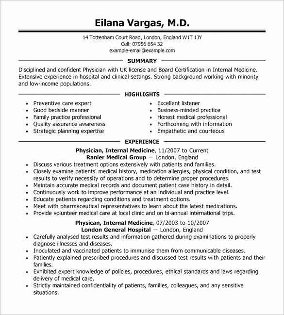 Physician Cv Template Word Awesome Doctor Resume Template – 16 Free Word Excel Pdf format