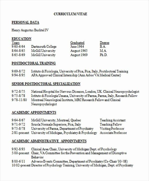 Physician Cv Template Word Fresh 10 Medical Curriculum Vitae Templates Pdf Doc