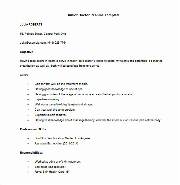 Physician Cv Template Word Fresh 13 Doctor Resume Templates Pdf Doc