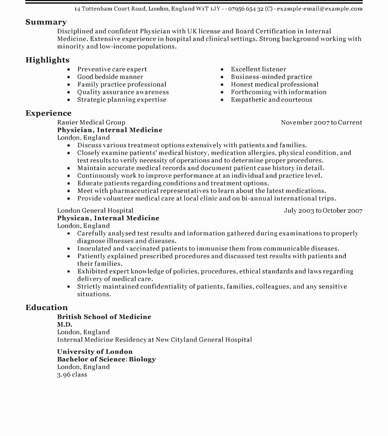 Physician Cv Template Word Lovely 13 14 Physician Cv Example