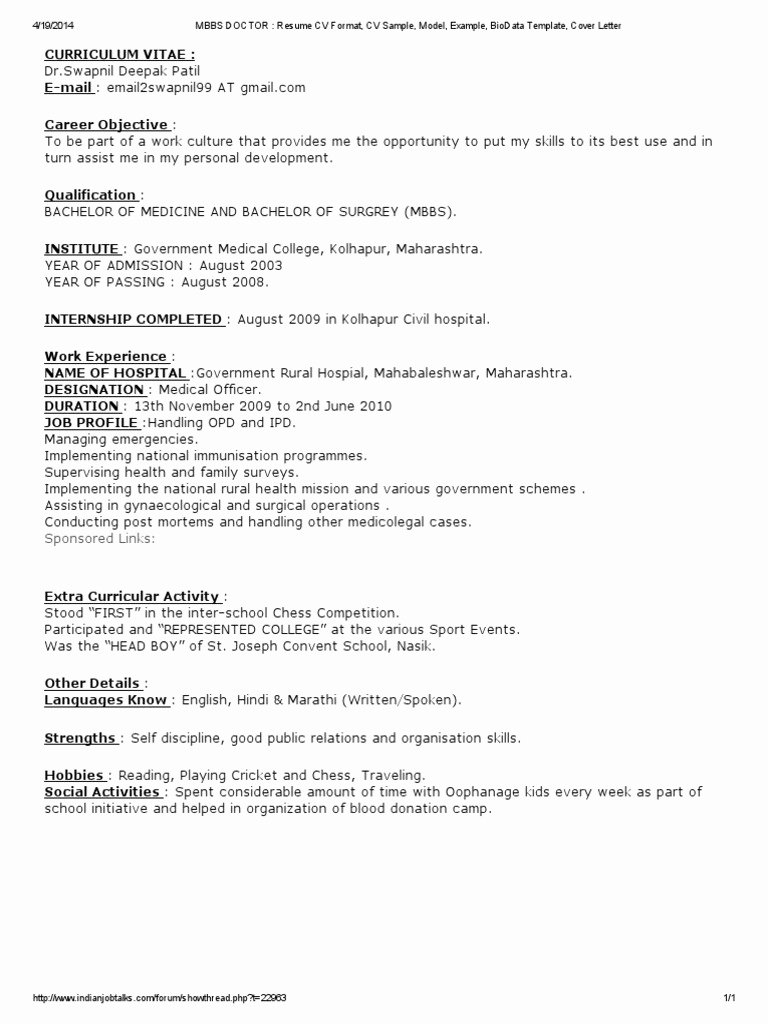 Physician Cv Template Word Luxury Internal Medicine Doctor Resume Curriculum Vitae format