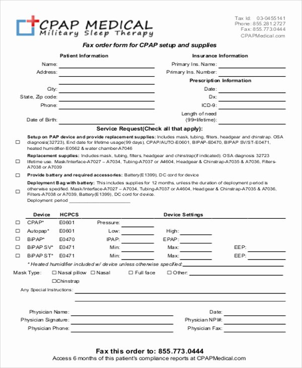 Physician orders form Template Awesome 9 Sample Medical order forms