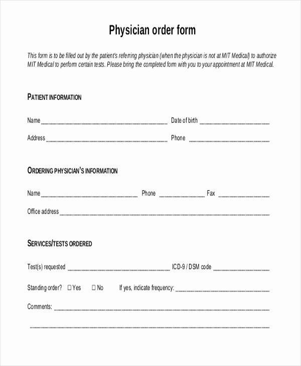 Physician orders form Template New Sample order form 20 Free Documents In Pdf