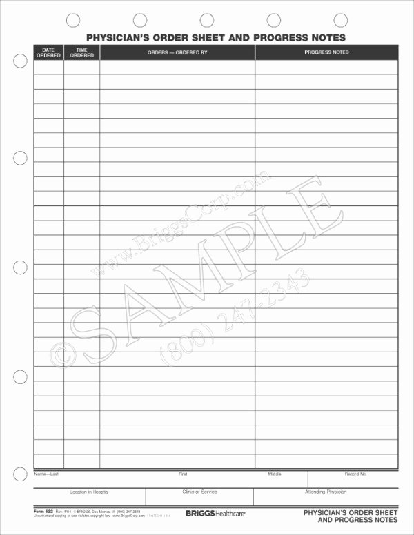 Physician orders form Template Unique Physicians order Sheet and Progress Notes form