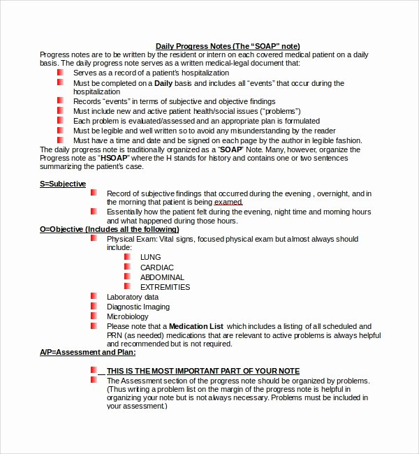 Physician Progress Note Template Awesome 10 Progress Notes Templates