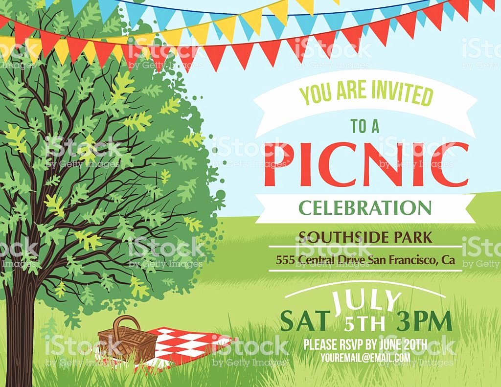 Picnic Flyer Template Free Elegant Cartoon Summer Picnic Invitation Template Stock Vector Art
