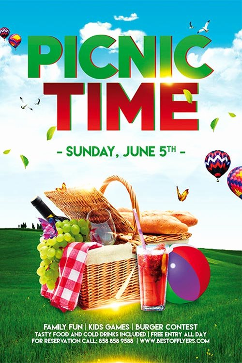 Picnic Flyer Template Free Elegant Picnic Time Free Poster Template for Munity Picnic events