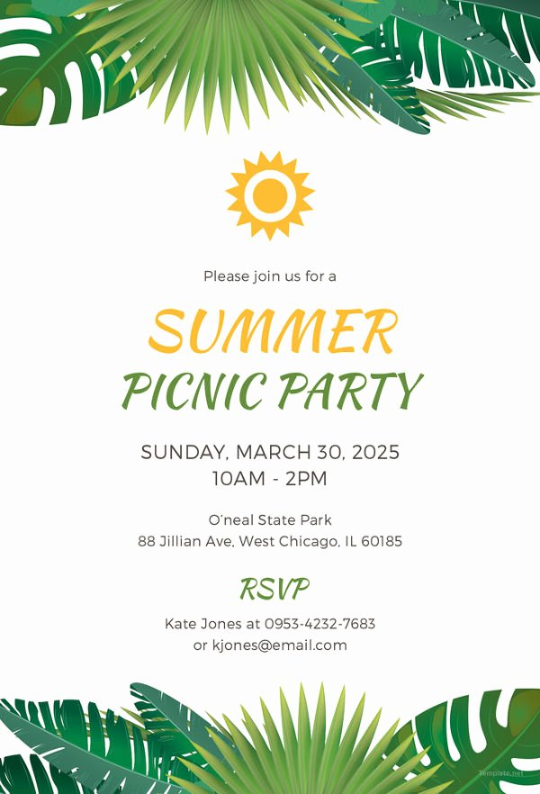 Picnic Invitation Template Free Elegant Picnic Invitation Template 26 Sample Example format