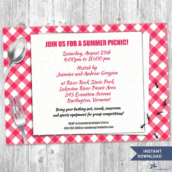 Picnic Invitation Template Free Lovely Printable Red Gingham Summer Picnic with Ants Party Invitation
