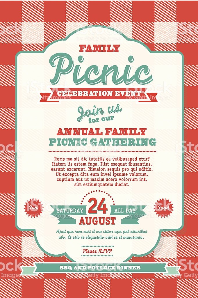 Picnic Invitation Template Free Unique Bbq Tablecloth Picnic Invitation Design Template Stock
