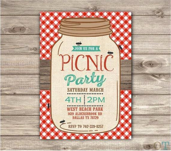 Picnic Invite Template Free Awesome Picnic Park Party Mason Jar Beach Bbq Family Reunion